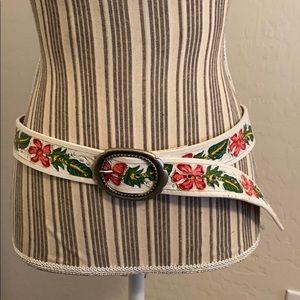 Bill Adler Floral Leather Belt